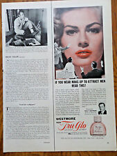 1956 Westmore Tru-Glo Makeup Ad  Movie Hollywood Star Anita Ekberg