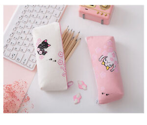 Cat And Cherry Blossom Flowers Japanese Style Cute Canvas Pencil Case