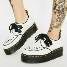NEW IN BOX!! Dr Martens SIDNEY White/Black Quad Platform Creepers Size UK 8