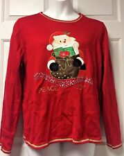 Cute Ugly Christmas Sweater Santa Claus Peace Joy Womens XL 16-18 Red Sequins