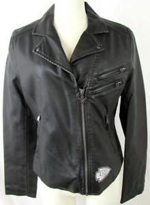 Kansas City Chiefs Womens Medium TOUCH Full Zip Faux Leather Jacket AKAC 275