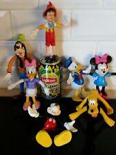 Disney Minnie Mickey Mouse, Goofy, Daisy, Donald Pluto Pinochio PVC Bendable VTG