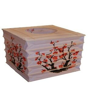 Japanese Style Rectangle Paper Lantern - Red Sakura (Cherry)