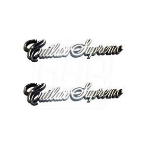 "1984-1988  "" Cutlass Supreme "" Sail Panel Script Emblem Adhesive Backed PAIR"