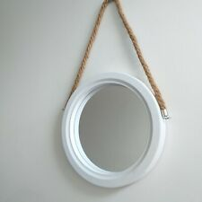 Rustic White Wooden Wall Mirrror Round Nautical Porthole Rope Wall mirror new