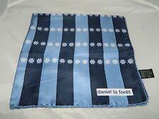 Vintage DANIEL LA FORET 100% Silk Blue Nautical Ships Wheel Striped Handkerchief
