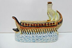 VINTAGE NAVE PUNICA VIRTUS MARSALA VIKING SHIP CERAMIC POTTERY DECANTER BOTTLE