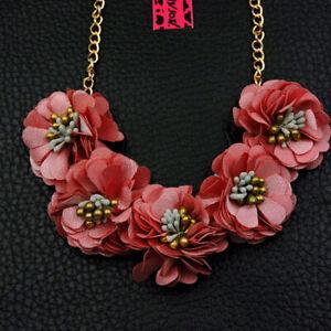 Pendant Betsey Johnson Jewelry Enamel Pink Flowers Golden Women Necklace