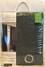 "Luxe Maison - Oakley - Oxford Chenile - Black - Curtains - 46x72"" - Brand New"