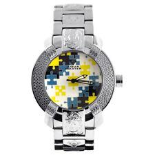 New Aqua Master Mens Diamond Watch Round Yellow Blue Mosaic Dial Steel Bracelet