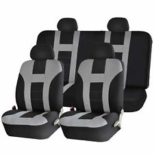 GRAY & BLACK DOUBLE STITCH SEAT COVERS 8PC SET for SUZUKI KIZASHI