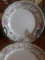 "5 Salad Dessert Plates Morning Rose by Epoch 7 5/8"" Pink Blue Flowers Green E816"