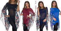 blusa in voile trasp. catena maniche kimono floreali unite 4 colori tg S/M,L/XL