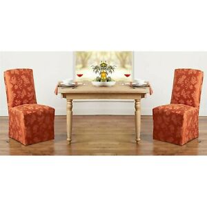 2 Brand New SPICE Autumn Medley Damask Chair Covers for Dining Room Chairs
