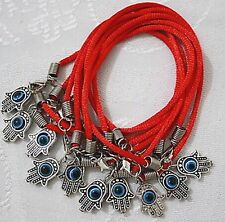 Dozen of evil eye red string Kabbalah bracelet with Hamsa and eye Judaica lot