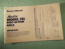 Marlin Model 781 Bolt Action Rifle .22 Caliber  Manual, dated 1/79 back cover