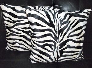 "2 Faux Fur Soft Velboa Zebra Design Cushion Cover 16"" 18"" 20"" Scatter Pillows"