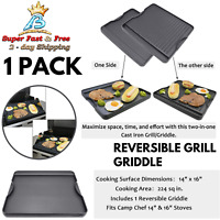 Stove Top Oven Reversible Grill Griddle Plate Black BBQ Hob Camping Cooker NEW