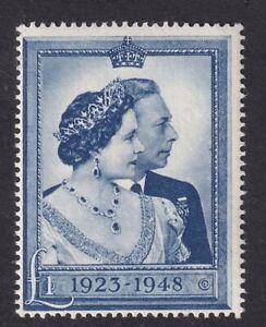 GB KGVI SG494 1948 RSW SILVER WEDDING £1 BLUE - MNH