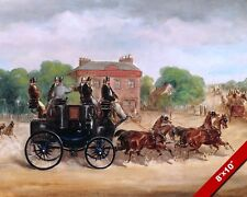 1800S ENGLISH HORSE CARRIAGE 4 IN HAND SPORTS RACING PAINTING ART CANVAS PRINT