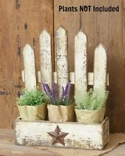 New Primitive Country Shabby Rustic Picket Fence Planter Spice Box Whitewash