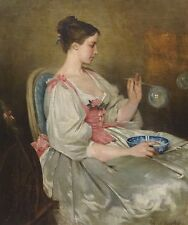 Fine Large 19th Century French Lady Blowing Bubbles Antique Oil Painting CHAPLIN