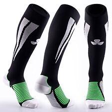 Samson Calcetines de Compresión Negro Verde Fútbol Correr Deportes Gimnasio