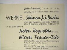 Grober Ehrbarsaal Sheet Ad 1938 Vienna Austria German Werke Bach Concert