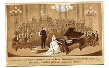 Victorian Trade Card DECKER BROTHERS PIANOS T Thomas Orchestra Julia Rive King