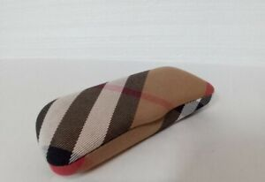 Burberry Eyeglasses Sunglasses Hard Case Plaid Clamshell Fabric Italy Authentic