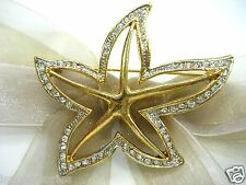 18K Gold Plate Starfish Swarovski Element Austrian Crystal Rhinestone Brooch Pin