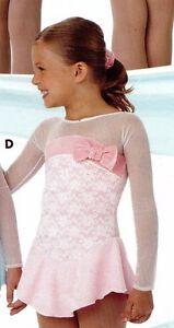 Skate dress Long Sleeve Mesh Velvet Bow Accent Child sizes 2 lyr skirt Candy Pk