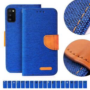 Handy Tasche Blau Flip Cover Case Schutz Hülle Etui Jeans Canvas Stoff Wallet