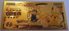 Pokemon Pikachu Gold Plated Foil Japanese Custom Yen Banknote Bill Money SK345