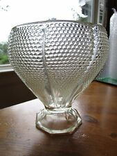 """Antique clear glass vase dotted hobnail 7.5"""" tall x 7"""" wide - Natlot"""