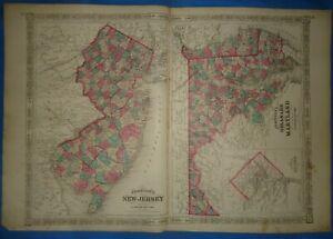 Vintage 1869 MARYLAND DELAWARE Map Old Antique Original Johnson's Atlas