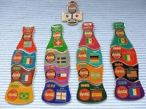 16 Coca Cola  Bottle Pins Weltmeister von 1930 - 1998 + Kopfpin a