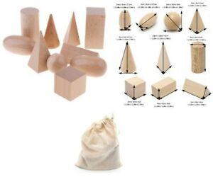 Polished Wooden Geometric Solids Blocks, Student Set 3D Shapes (Set of 10)