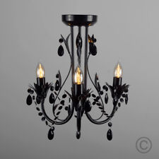 Vintage Style Gloss Black 3 Way Flush Ceiling Light Fitting Chandelier Lights