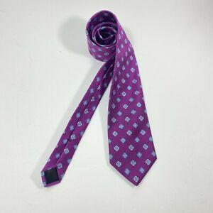 Brooks Brothers Tie Men's Neck Tie Pure Silk Blue Purple Yellow flowers