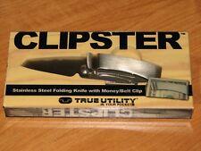 Clipster True Utility Folding Pocket Knife Money Belt Clip Stainless Steel Tu579