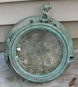 Original Antique SOLID BRASS Maritime Ship PORTHOLE 10 ½ inch diameter PATINA