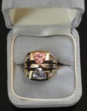 Vintage Ladies 18K Gold, Saphire, Tourmaline, Diamond Ring 18 grams size 6.5