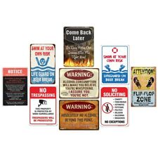 Warning Metal Tin Signs Swim At Your Own Risk Retro Plate Art Wall Decor