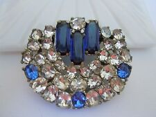 Huge Outstanding Vintage Art Deco Clear & Sapphire Blue Colored Double Fur Clip