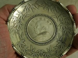 VERY INTERESTING OLD CHINESE WHITE METAL COIN DISH - L@@K - RARE