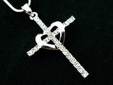 Cross w Heart Pendant Women Crystal Necklace Silver Plated New