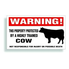 Warning Decal trained Dairy Cow for holstein milk and meat cattle animal farm