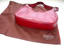 Stunning Vintage Genuine COACH Red Leather Shoulder Bag J23-9342 & Cloth Bag