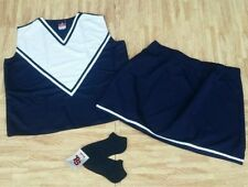 "Adult Xl Xxl Navy Blue Cheerleader Uniform Top Skirt Socks 42-44/34-37"" Cosplay"